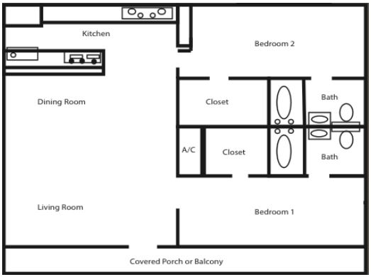 The Redwood - Two Bed, 2 Bath (2x2)
