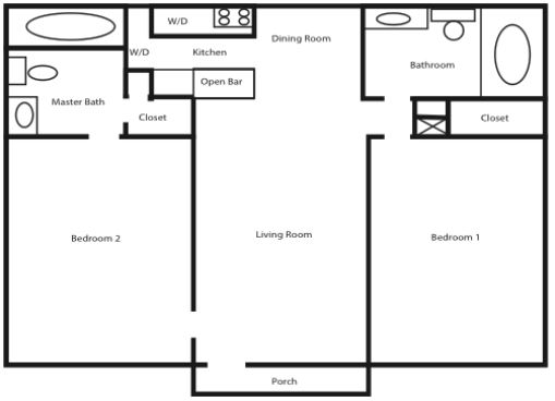 Falling Water - Two Bed, Two Bath (2x2 w/d)